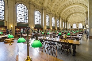 BOSTON, MA - APRIL 7, 2012: Interior of Boston Public Library. T
